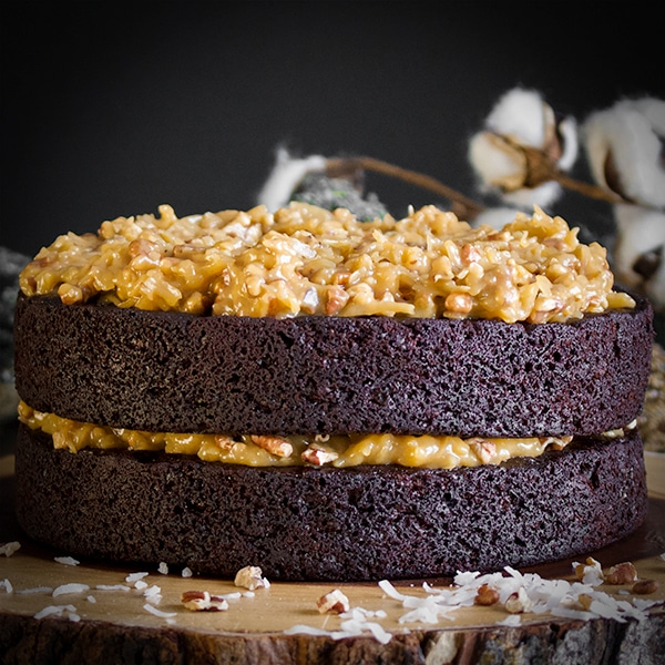 German Chocolate Cake made with Devil's Food Cake and caramel filling with toasted pecans and coconut.