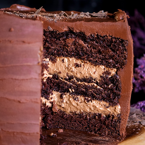 The inside of a three layer devil's food chocolate blackout cake.