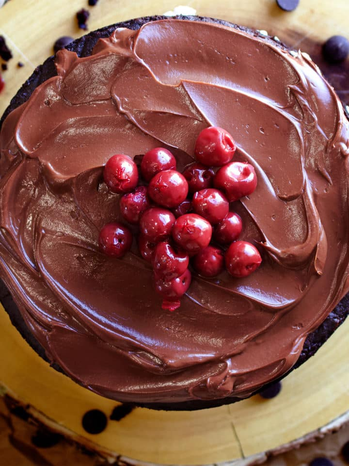 Black Forest Cake made with layers of Devil's Food Cake, whipped cream and cherries.