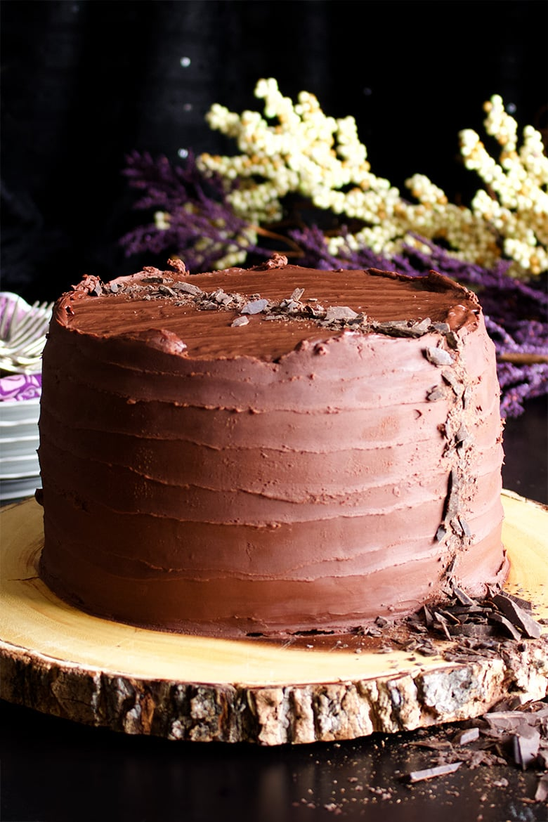 Chocolate Blackout Cake. Three layers of Devil's Food Cake filled with chocolate pastry cream and covered in chocolate ganache.