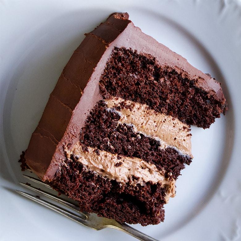 A slice of chocolate blackout cake.