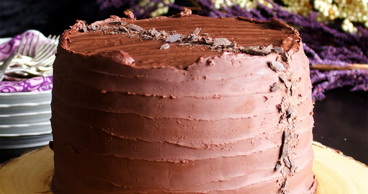 Chocolate Blackout Cake made with three layers of Devil's Food Cake, Chocolate Pastry Cream and Chocolate Ganache