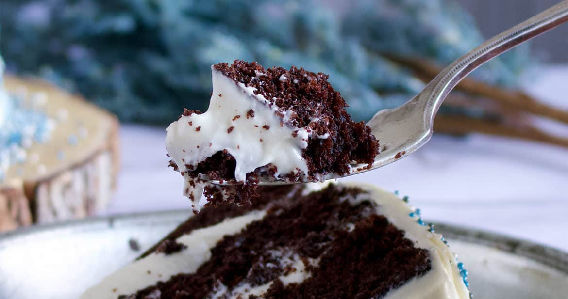 A slice of rich Chocolate Devil's Food Cake.
