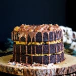 German Chocolate Cake with milk chocolate ganache