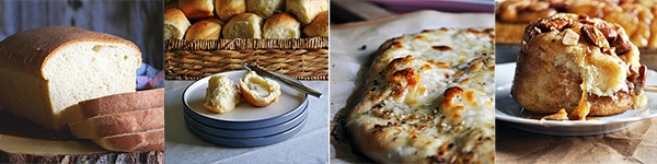 Four more great homemade bread recipes: Simple Homemade White Bread, Buttery Homemade Dinner RollsSimple, Homemade Pizza Dough, Homemade Overnight Caramel Rolls