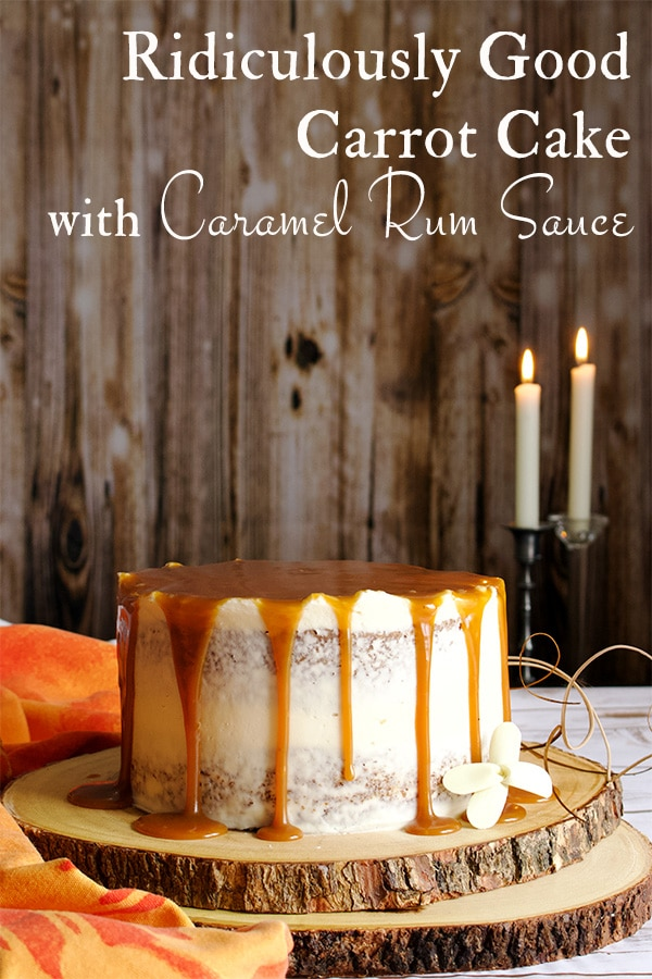 Perfect carrot cake layer cake with cream cheese buttercream and caramel rum sauce.
