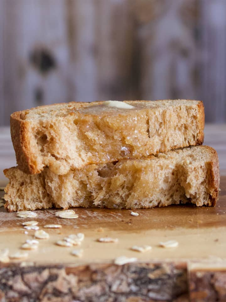 A piece of homemade whole wheat bread.