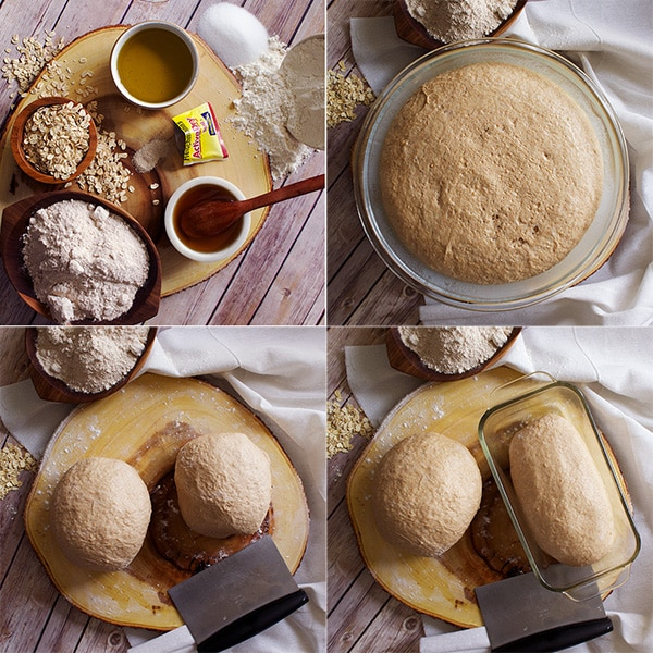 The process of how to make homemade whole wheat bread: Bread ingredients, risen bread dough, and shaping the dough into loaves.