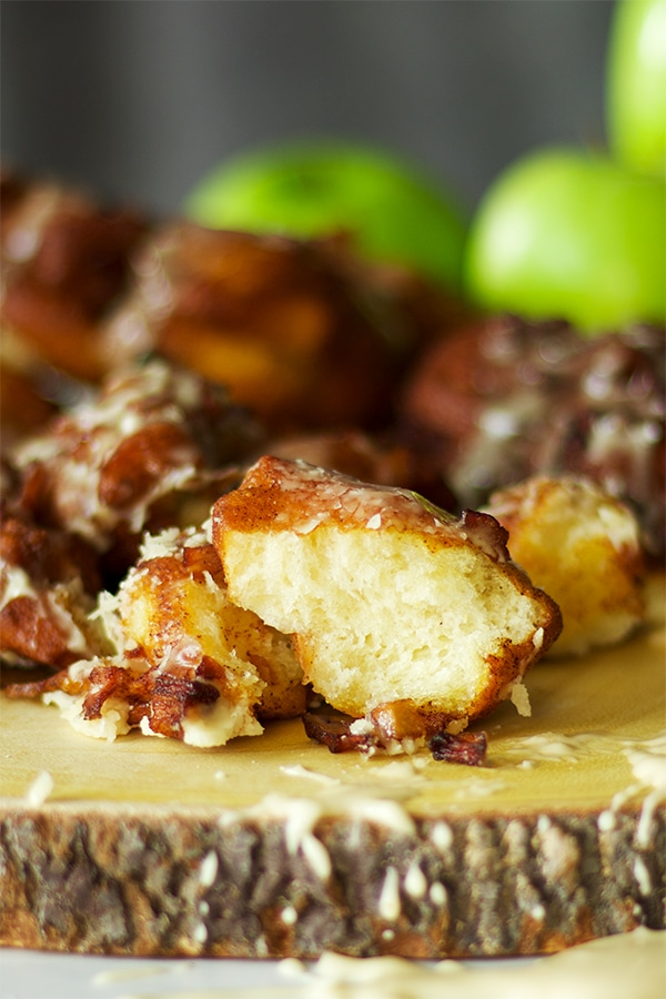 Homemade apple fritters with maple glaze