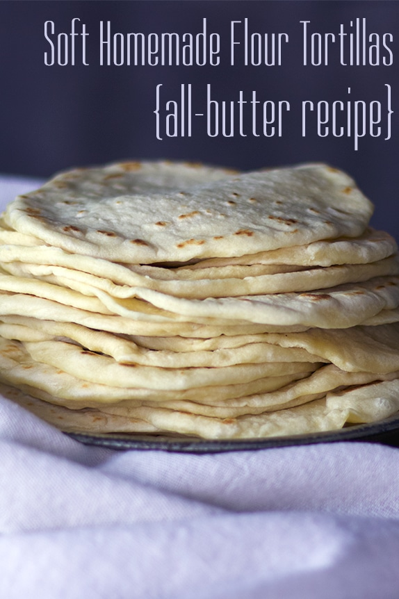 A stack of warm homemade tortillas