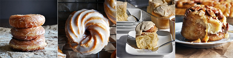 More doughnut and sweet roll recipes: Overnight Yeast Raised Doughnuts, French Cruller Doughnuts, Overnight Cinnamon Rolls, Overnight Sticky Buns {Caramel Rolls}