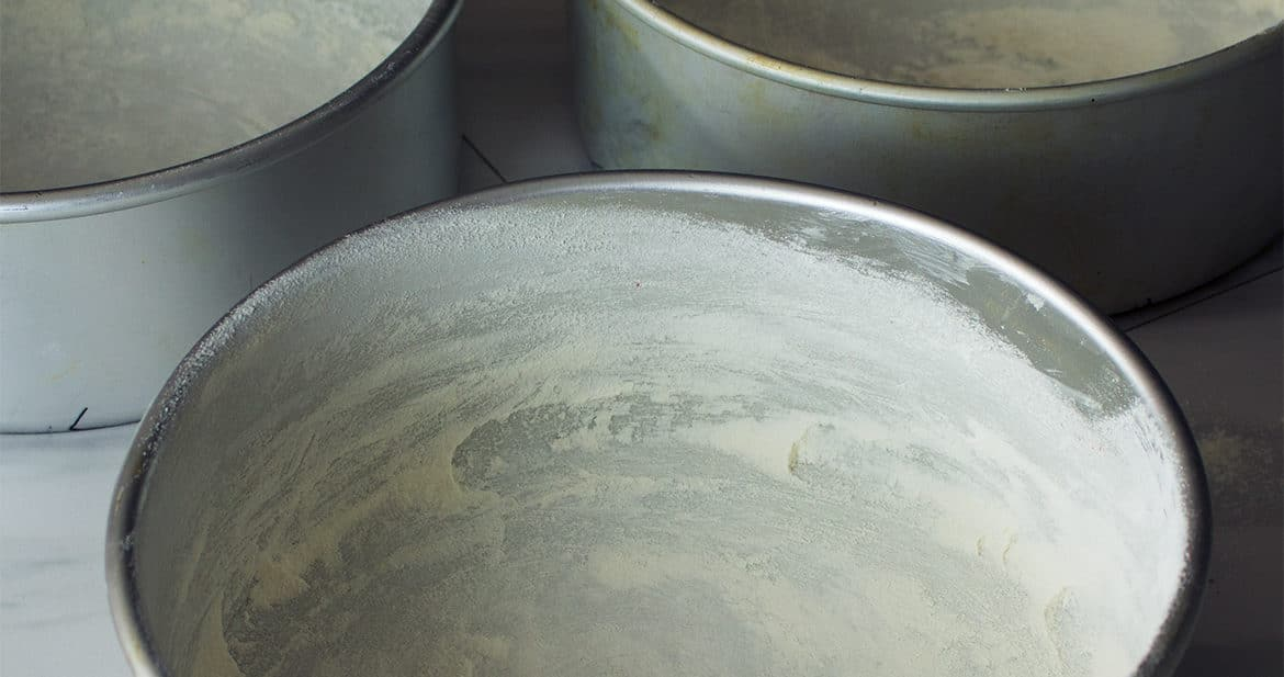 How to grease and flour cake pans so cakes won't stick to the pan.