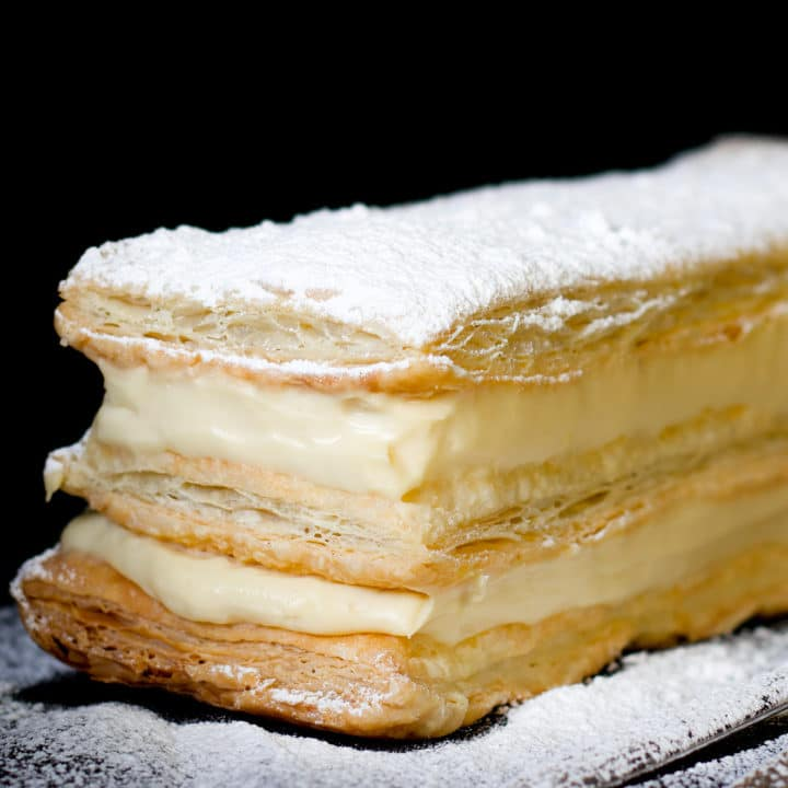 Classic French Napoleon Dessert Recipe. Also known as the Mille Feuille Cream Pastry.