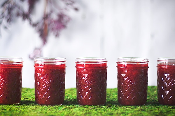 Jars of strawberry rhubarb jam.