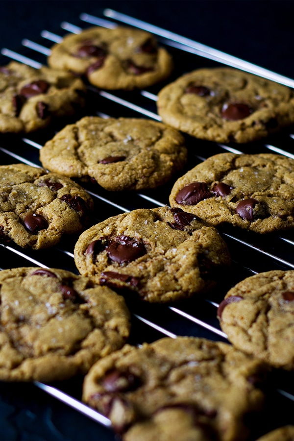 A rack of soft chocolate chip cookies.