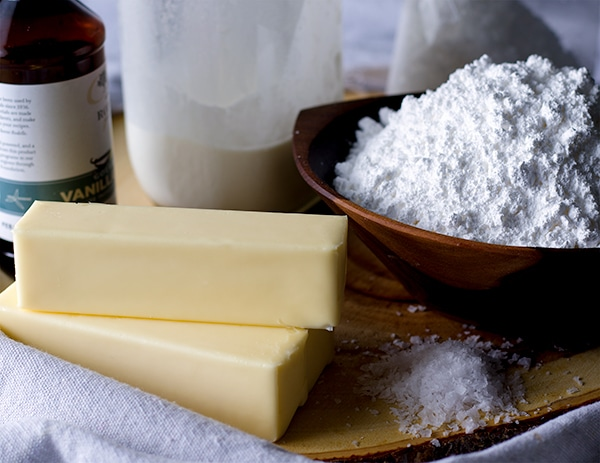 The ingredients for American Style Buttercream.