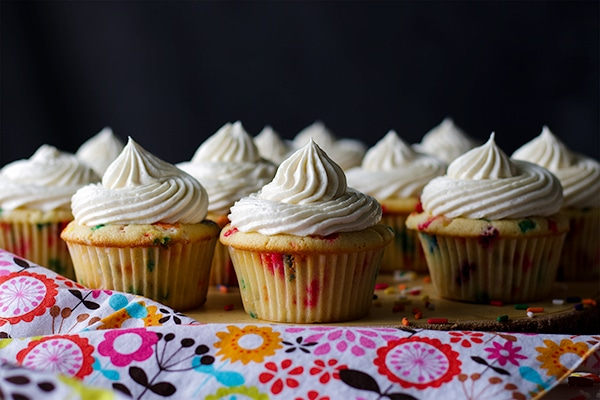 A tray of Funfetti Cupcakes with Classic American Buttercream
