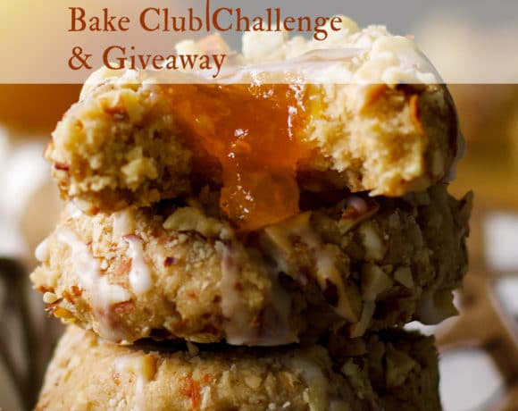 The August Bake Club Challenge is Peach Almond Thumbprint Cookies