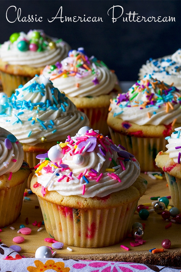 A tray of cupcakes frosted with American Buttercream