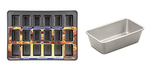 An 18-cavity mini loaf pan and a 9-inch nonstick loaf pan.