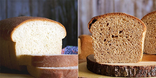Two simple bread recipes for white bread and whole wheat bread.