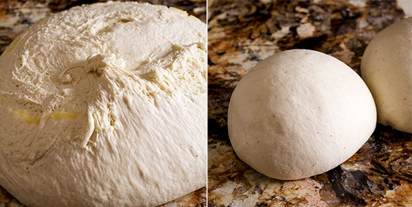 Bread dough that's risen and ready to be shaped into cinnamon bread loaves.