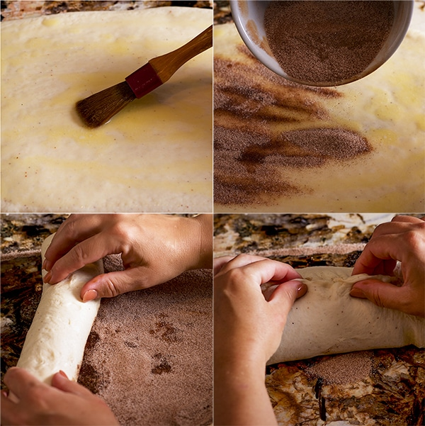 Step by step photos showing spreading a rectangle of bread dough with butter and cinnamon sugar, then rolling it up into a log and forming it into a loaf of cinnamon bread.