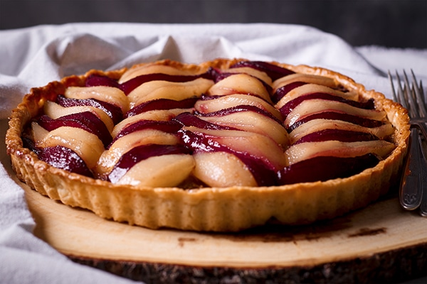 Pear Tart with Frangipane and Wine Poached Pears