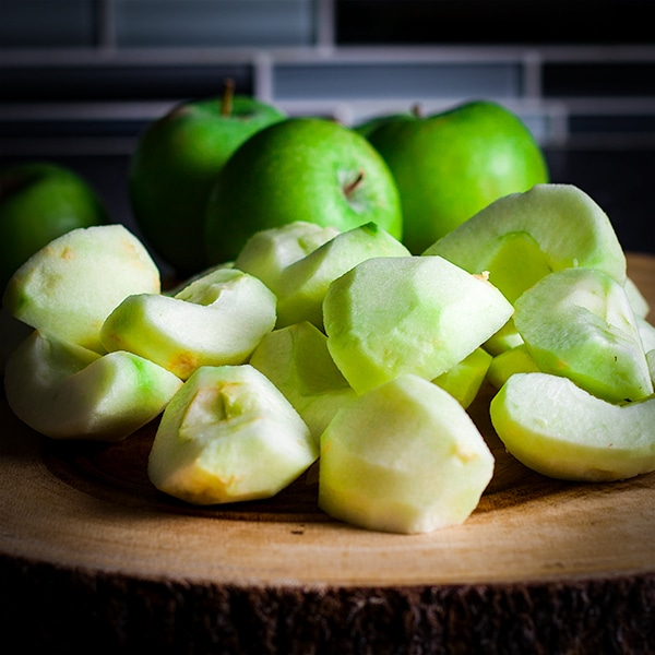 Granny Smith Apples, peeled and cored and ready to shred for Apple Cake.