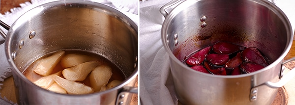 Poaching pears in white wine and in red wine.