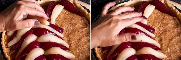 Arranging poached pears over the top of a pear tart.