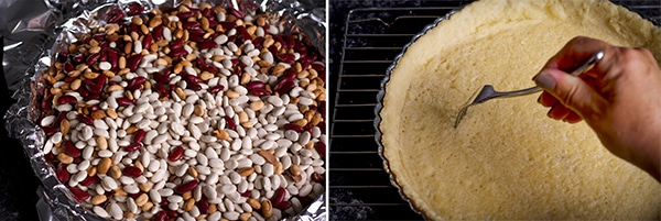 Filling a pastry shell with dried beans and using a fork to poke it with holes will prevent the pastry to puff up while baking.