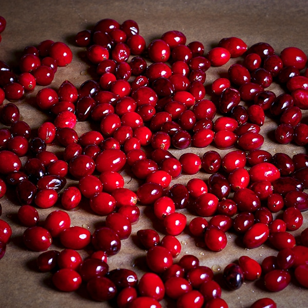 Cranberries coated in sugar syrup.
