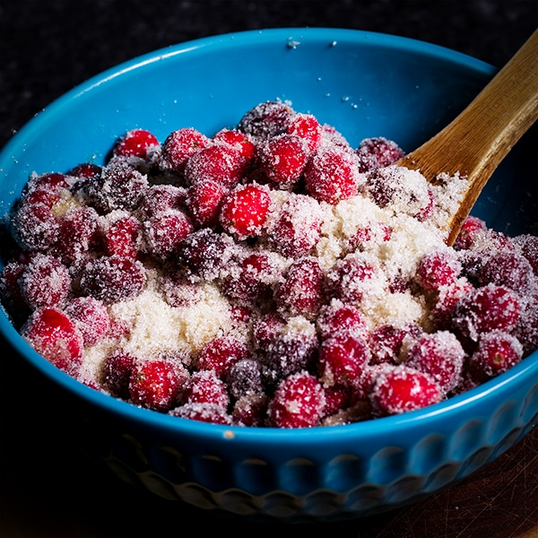 A bowl of sugared cranberries.