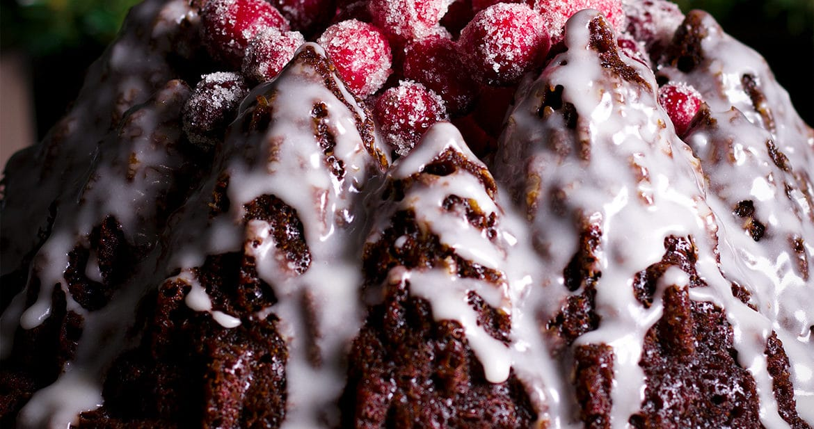 Gingerbread Cake with Lemon Glaze and Sugared Cranberries