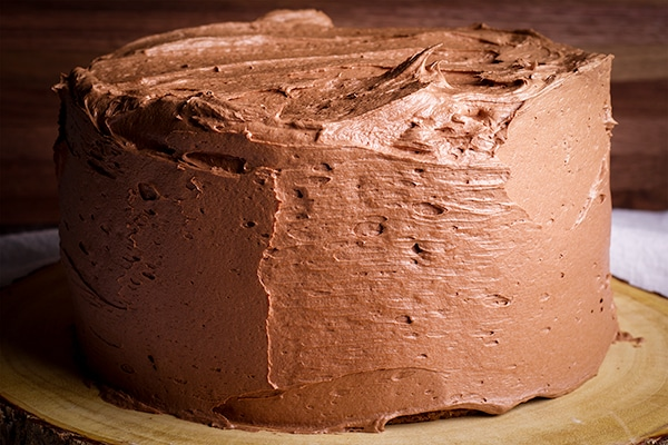 A cake frosted with Chocolate Buttercream