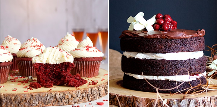Red Velvet Cake Cupcakes and a Black Forest Cake