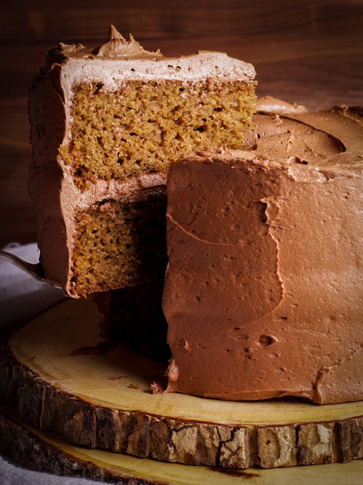 Serving a slice of Spice Cake with Chocolate Buttercream.