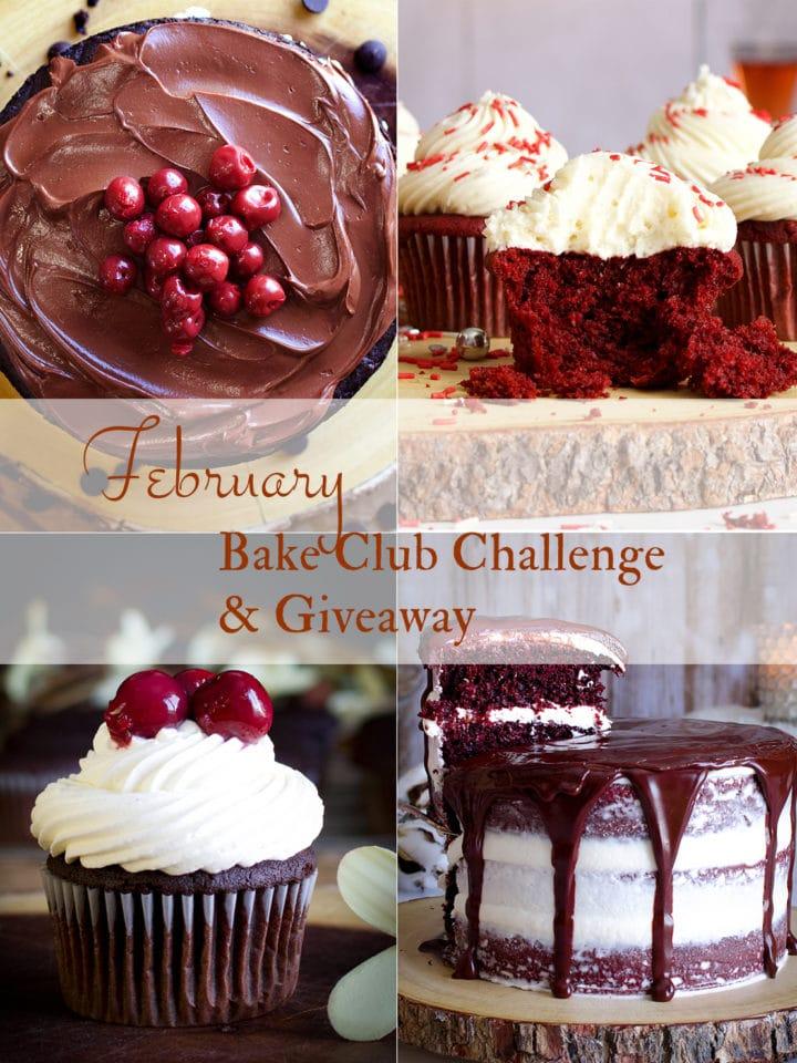 February Bake Club Challenge cakes - Black Forest cake and red velvet cake