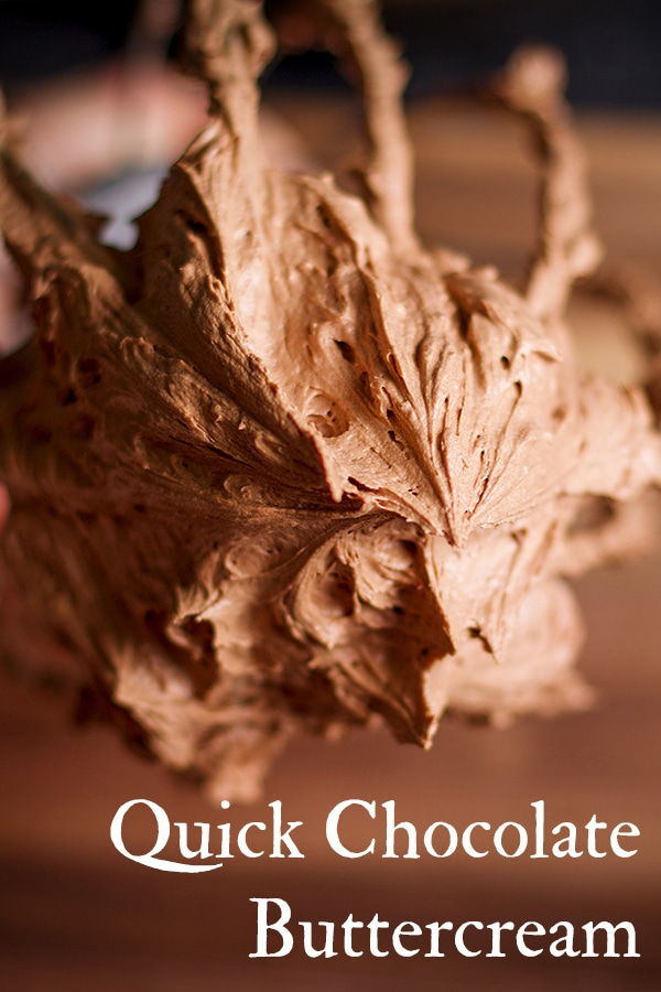 This rich chocolate buttercream is my go-to, all-time favorite chocolate frosting because it takes about 5 minutes to make, is super creamy, and intensely flavorful. #chocolate #buttercream #frosting #icing #quick #easy #cake | ofbatteranddough.com