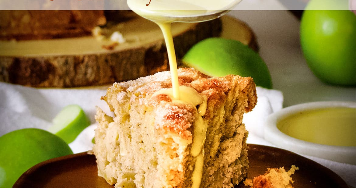 The March Bake Club Challenge recipe is Irish Apple Cake with Custard Sauce.