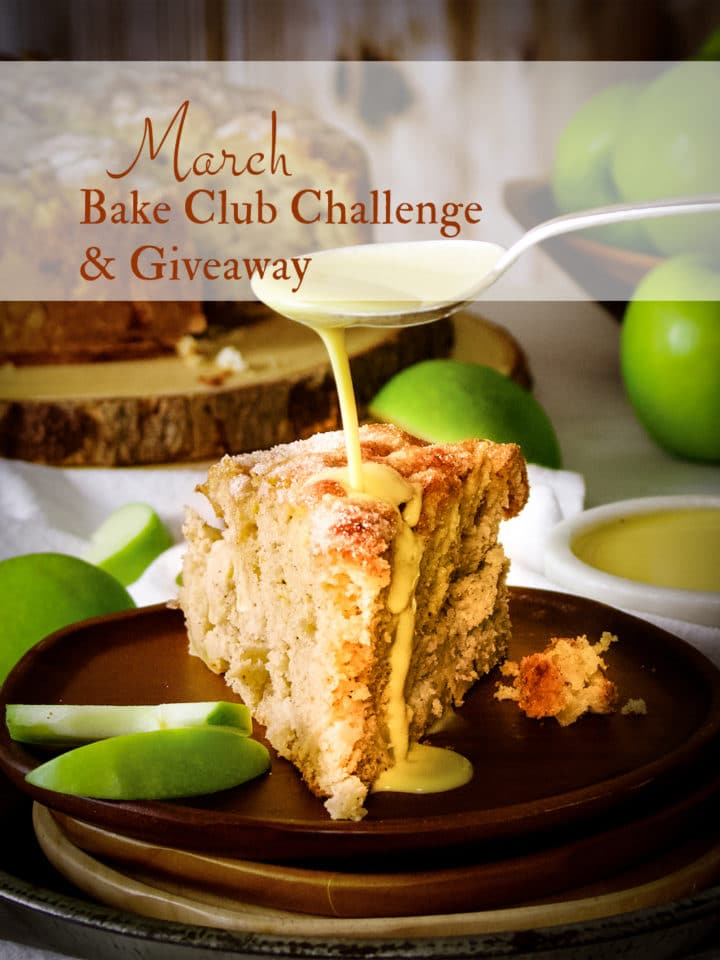 The March Bake Club Challenge recipe is Irish Apple Cake with Custard Sauce.
