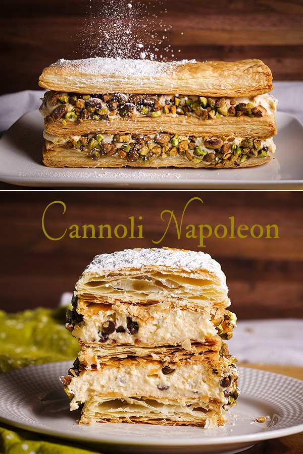 Puff Pastry Napoleon with Cannoli Filling being dusted with powdered sugar, sliced, and served.