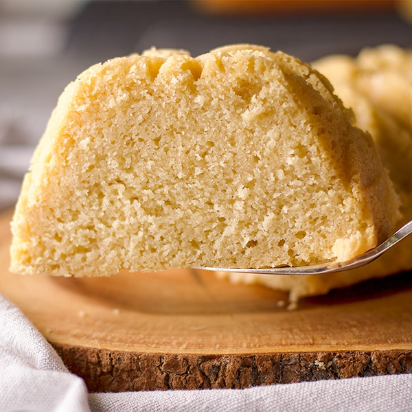 Serving a slice of all-butter pound cake.