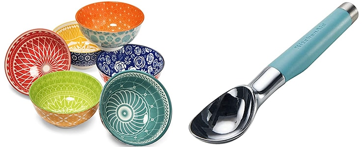 The June Bake Club Prize: a set of dessert bowls and an ice cream scoop