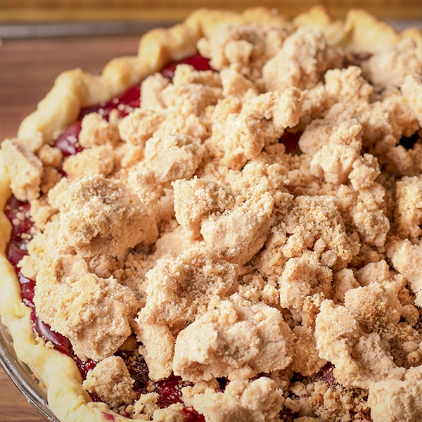 A freshly baked Cherry Crumb Pie.