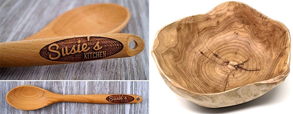Personalized engraved wooden spoon and natural carved wooden bowl.