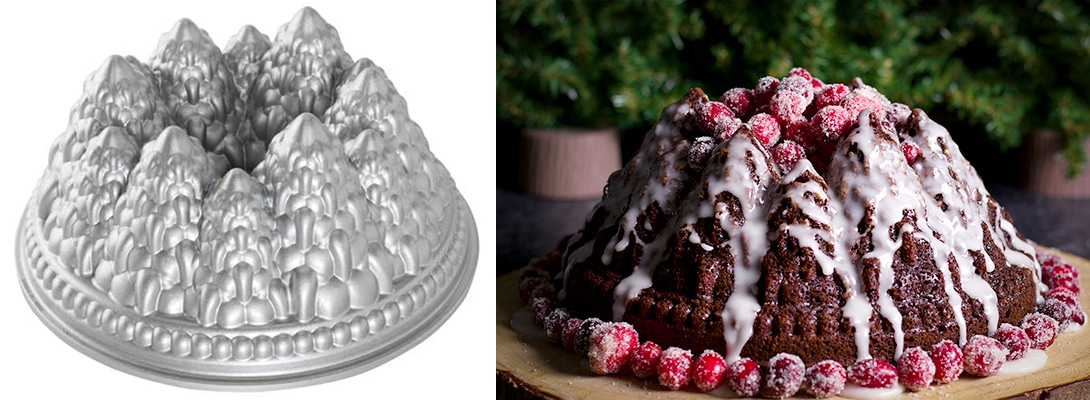 A Nordic Ware Pine Forest Bundt Pan and a Gingerbread Cake that's been baked in the same pan.