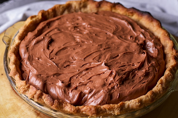 An extra creamy chocolate cream pie with toasted almond crust.
