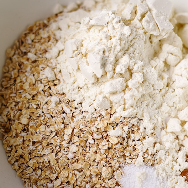 A bowl of ingredients for making breakfast cookies.